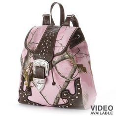 """Who ever said """"that there's such thing as to much camo,""""straight up lied. Pink Camo Backpack, Studded Backpack, Leather Backpack, Drawstring Backpack, Sweet Style, My Style, Annie Oakley, Pink Camouflage, Vegan Leather"""