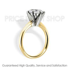 14k Yellow Gold (Two Tone) 6 Prong 1/2 ctw I - J Color VS - SI Clarity Certified Solitaire Diamond Engagement Ring www.pricepointshop.com