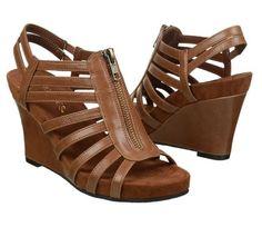 "$80 Womens Aerosoles Memory Foam Sandals Comfort Shoes 3.5"" Wedge Heels Tan"