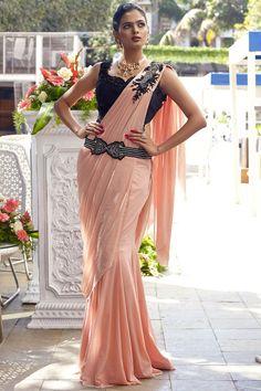 Buy Peach Lycra Applique Embroidered Saree Online Sari Design, Sari Blouse Designs, Lehenga Designs, Drape Sarees, Saree Draping Styles, Saree Styles, Indian Bridal Sarees, Bridal Silk Saree, Designer Gowns