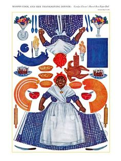 Digital Image - Rare 1912 Mammy Thanksgiving Paper Doll - DIY Print & Cut -Or- Use in Crafts - Immediate Download!