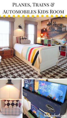 Planes, Trains & Automobiles Boys Room with vinyl wall mural via Heathered Nest -