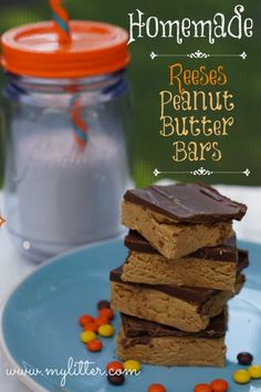 Homemade Reese's Peanut Butter Cup Bars - Super easy no bake recipe!