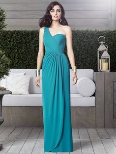 Dessy Collection Style 2905 Bridesmaid Dress is a top seller at Bridals by Lori. Fabric: Lux Chiffon Full length one shoulder lux chiffon dress w/ draped bodice and side slit detail at front of shirred skirt. Sizes available: and Extra Length. Dessy Bridesmaid Dresses, Turquoise Bridesmaid Dresses, Nice Dresses, Girls Dresses, Flower Girl Dresses, Dresses 2016, Flower Girls, Simple Dresses, Prom Dresses