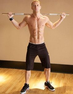 Workout for Six Pack Abs and a Strong Core: Standing work with bar - Move 1. [see more www.pinterest.com/amorefitness]