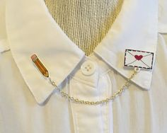 Love Note and Pencil Collar Clips sweater clips by FoxAndRoseShop