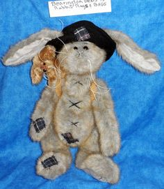 """Bearington Collection 15"""" Plush Rabbit RAGS & BAGS Jointed legs,Wired Ears Toy S #Bearington #AllOccasion"""