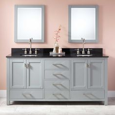 "72"" Modero Double Vanity for Undermount Sinks - Chilled Gray, $1584"