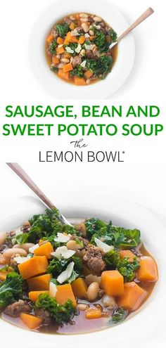 This hearty soup recipe is made with spicy Italian sausage, white beans, sweet potatoes and kale. Perfect for a busy weeknight dinner recipe! #soup #sweetpotato #dinner #easyrecipes