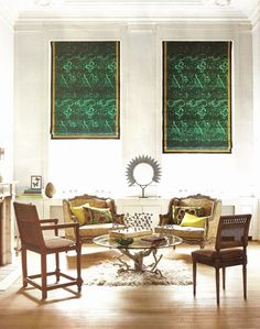 anne marie midy and jorge alamada living room--tony duquette for jim thompson malachite roman shades, carved chairs, eclectic furniture styles