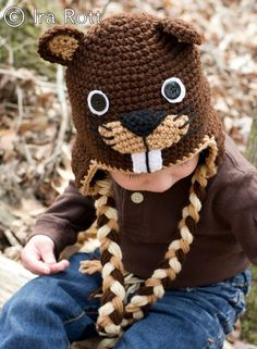 Handmade Crochet Canadian Beaver Hat for all ages boys and girls