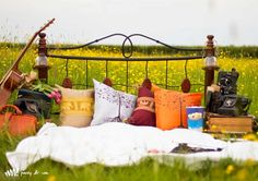 #engagement fake bed in a field