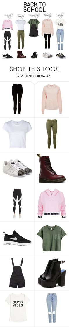 """""""school"""" by elmebetegszoszi ❤ liked on Polyvore featuring New Look, Bliss and Mischief, RE/DONE, Current/Elliott, adidas Originals, Dr. Martens, NIKE, Local Heroes, Boohoo and Tommy Hilfiger"""