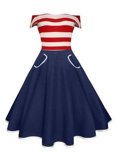 $13.77 Off The Shoulder Striped Vintage Dress