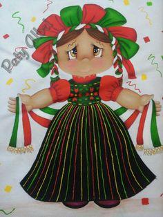 Pintura textil muñeca mexicana paty albri