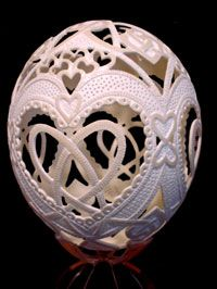 I have some eggs from Ukraine similar to these, expect the ones I have painted, and I think it is so crazy that this is possible. Amazing sculpture and craftsmanship.
