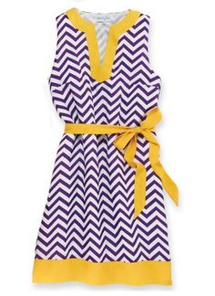 Purple and Gold Chevron  Game Day Dress