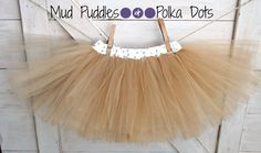Gold and White Polka Dot lined tutu skirt with gold shimmer tulle for baby, infant, toddler, & girls - fall, fashion, little ones, thanksgiving, holiday, christmas, wedding, shower, gift, boutique, chic, Mud Puddles and Polka Dots