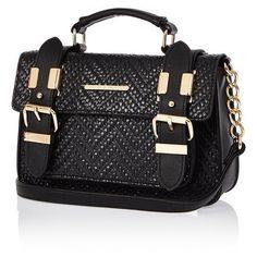 River Island Womens Black faux-suede mini satchel handbag ...
