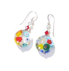 Murano Millefiori Glass Disc Silver Earrings by JKCJewels on Etsy, $20.00