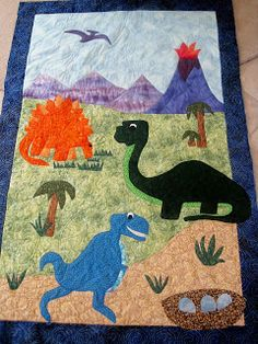 Finely Finished Quilts: Ty's Dinosaur Quilt