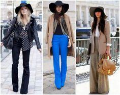 Modelos vestem pantalonas coloridas e usam chapéu floppy