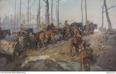 Bringing up the ammunition, Flanders, Autumn 1917 Australian soldiers with teams of six horses pulling linked half limbers loaded with boxes of machine gun ammunition. The horses are struggling through the mud as they cross a small river. by H Septimus Power