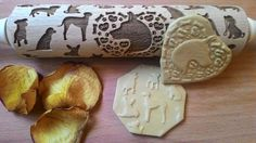 Rolling Pin Wooden Laser Cut Stylish Dogs Puppies Pattern Embossing