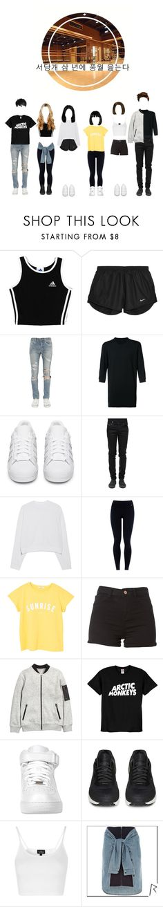 """""""Bitter Sweet [Dance Practice]"""" by pastelgothprincess27 ❤ liked on Polyvore featuring adidas, NIKE, Yves Saint Laurent, DEVOA, adidas Originals, County Of Milan, Acne Studios, MANGO, Topshop and River Island"""