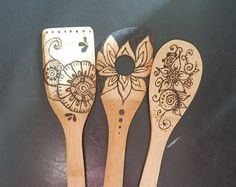 Wood Burned Wooden Spoon Set by CourtneyLovesCrafts on Etsy