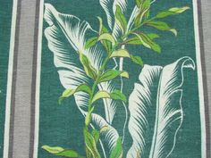 Pair 30'S Banana Leaves ON Lemon Lime Coolers VTG Barkcloth Fabric Drape Curtain | eBay
