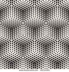 Vector Seamless Black And White Halftone Cubes Pattern. Abstract Geometric Background Design