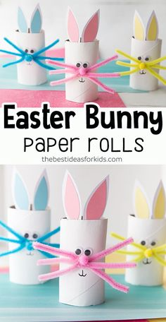 Fun DIY Project For Kid's Crafts! The kids will have a great time making these cut Easter Bunnies! Easy Easter Crafts, Bunny Crafts, Easter Projects, Easter Crafts For Kids, Toddler Crafts, Craft Projects, Craft Ideas, Easter Egg Hunt Ideas, Rabbit Crafts