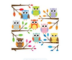 Owl with branches clip art set Owl Clip Art, Owl Family, Owl Cartoon, Owl Bird, Cute Owl, Clips, Punch Art, Counted Cross Stitch Patterns, Fall Crafts