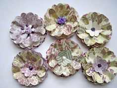 Upcycled paper flower embellishments set of 6 by littledebskis ~ SOLD!!!