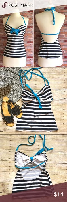 Hula Honey striped tankini top Black, white and gray stripes with turquoise string straps and accent tie. Tie can be worn in a knot or a bow as shown in pics. In excellent condition. 81/19 nylon, spandex. Size medium. Hula Honey Swim Bikinis