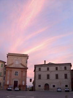 Montefalco sunset.Montefalco, province of Perugia , Umbria region. Italy