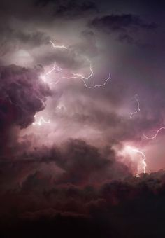 purple skies and lightning