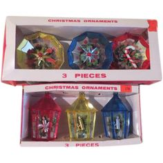 Jewelbrite Lantern and Decagon Diorama Christmas Tree Ornaments - b163
