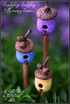 There are many ways to build fairy houses. This craft is really fun to do with children as their imaginations are amazing. I hope this page will inspire you to create your own fairy houses, enjoy! -- could make house out of sculpt to fit an acorn cap Fairy Crafts, Garden Crafts, Garden Ideas, Patio Ideas, Garden Projects, Backyard Ideas, Diy Projects, Acorn Crafts, Fairy Village