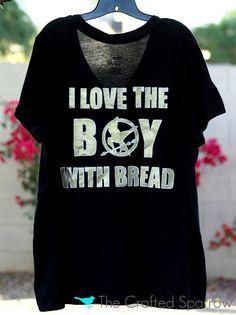 DIY Hunger Games Shirt {Freezer Paper Stencils} · Lesson Plans | CraftGossip.com