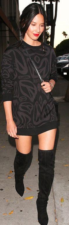 f5fdab2ca4 Olivia Munn  Purse – Celine Dress – Moschino Shoes – Christian Louboutin  Sexy Boots