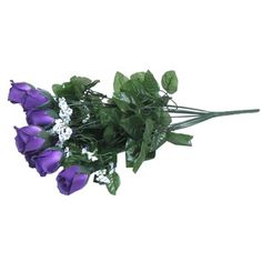 "Add Purple Rose Buds with Gypsophila to floral arrangements to decorate for weddings, parties or to accent a room in your home.    	There are 14 rosebuds accented with gypsophila in the bouquet. The rosebuds are approximately 2 1/4"" in length, the leaves are approximately 2"" wide x 2 1/2"" long and the approximate total length of stem is 21""."