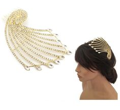 Large Gold Tone Peacock Design Hair Comb Slide with Crystals Diamante Prom