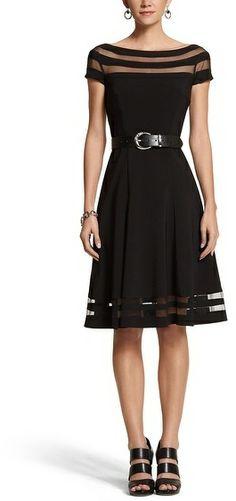 White House Black Market Illusion Stripe Fit & Flare Dress on shopstyle.com