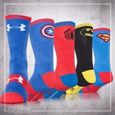Socks. Under armour.  I found these at Hibbit Sport. $13 a pair. My boys love them for basketball. I did find neon superman too!