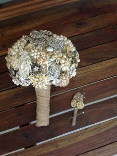 Vintage Style Brooch Bouquet with gold, silver, pearls & burlap. Matching Groom's Brooch Boutonniere.