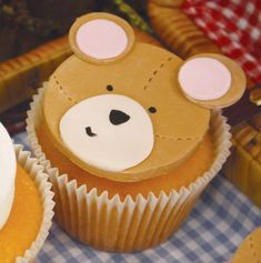 bear-birthday-party-picnic-cupcake-teddy Party by Kiss Me Kate: http://www.kissmekate.net.au/