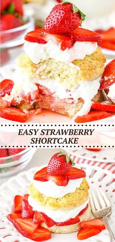 This Easy Strawberry Shortcake Recipe is as simple as it gets – homemade shortcake biscuits, juicy strawberries and homemade whipped cream! A classic dessert that's perfect for summer! Homemade Strawberry Shortcake, Strawberry Sauce, Best Cake Recipes, Dessert Recipes, Shortcake Biscuits, Homemade Whipped Cream, Classic Desserts, Strawberries And Cream, Biscuit Recipe