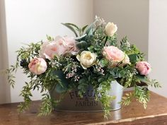 Excited to share this item from my shop Farmhouse Style Floral Arrangement Spring Floral Arrangement Blush Floral Centerpiece French Country Cottage Decor French Country Rug, French Country Decorating, Faux Flowers, Silk Flowers, Flowers Garden, Purple Flowers, Floral Centerpieces, Floral Arrangements, Blush Centerpiece